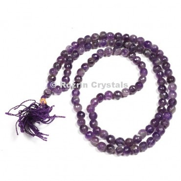 Faceted Amethyst Japa Mala