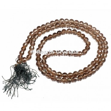 Faceted Smokey Quartz Japa Mala