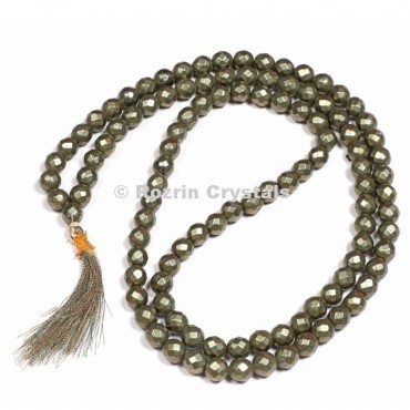 Faceted Pyrite Japa Mala