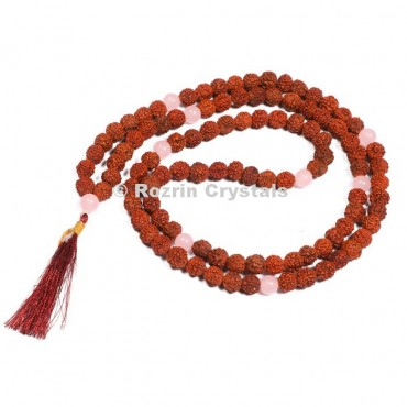 Rudraksha With Rose Quartz Japa Mala