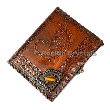 Dragon With Tiger Eye Leather Journals