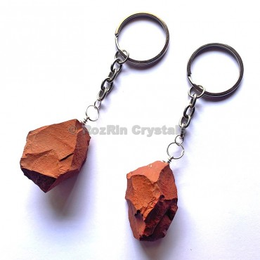Red Jasper Natural Rough Keychain