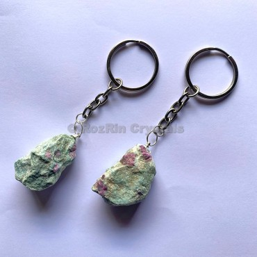 Ruby Fuchsite Natural Rough Keychain