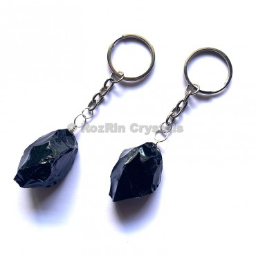 Black Obsidian Natural Rough Keychain