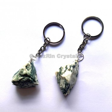 Tree Agate Natural Rough Keychain