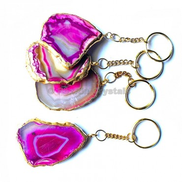 Pink Agate Slice Keychain with Metal Round Plated