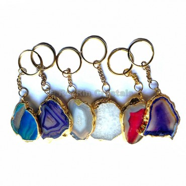 Mix Agate Slice Keychain with Metal Round Plated