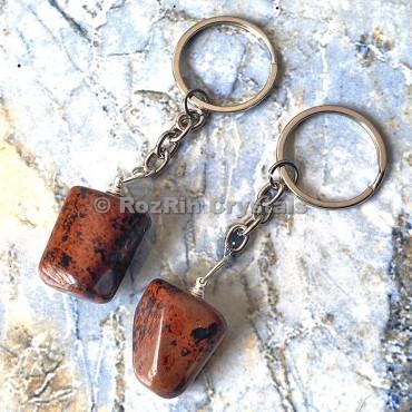 Mahagoni obsidian Tumbled Stone Keychain