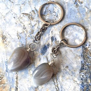 Grey Agate Tumbled Stone Keychain