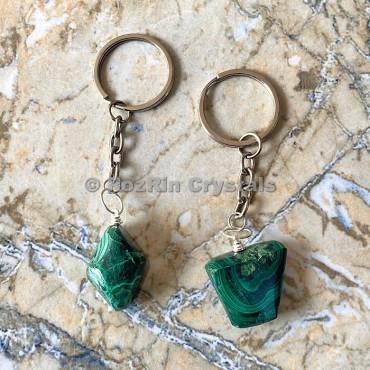 Melachite Tumbled Stone Keychain