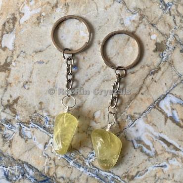 Lemon Quartz Tumbled Stone Keychain