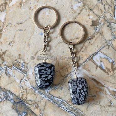 SnowFlake Obsidian  Tumbled Stone Keychain