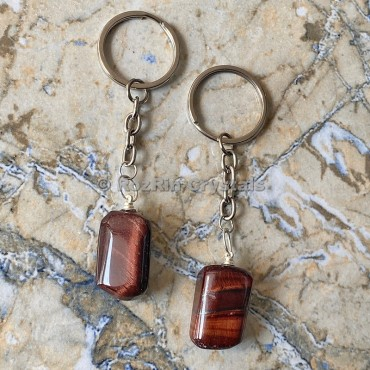 Red Tiger Eye Tumbled Stone Keychain