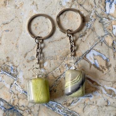 Serpentine Tumbled Stone Keychain