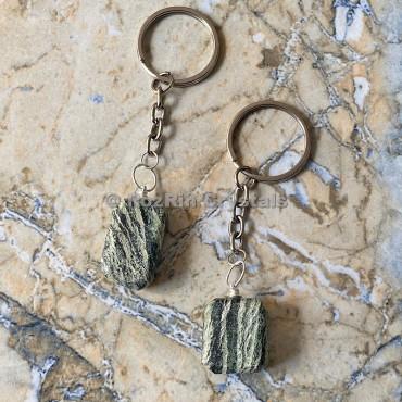 Green Zebra Tumbled Stone Keychain