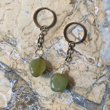 Green Aventurine Tumbled Stone Keychain