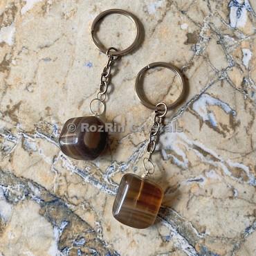 Multi Fluorite Tumbled Stone Keychain