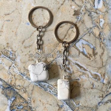 Howlite Tumbled Stone Keychain