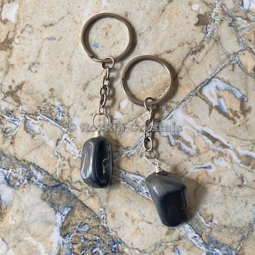 Black Obsidian Tumbled Stone Keychain