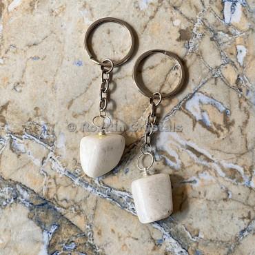 Scolecite Tumbled Stone Keychain