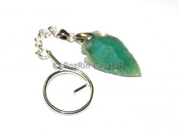 Green Agate Arrowheads Keyrings
