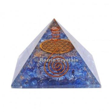Blue Onyx Flower of Life Orgone Pyramids