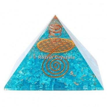 Aqua Onyx Flower of life Orgone Pyramids