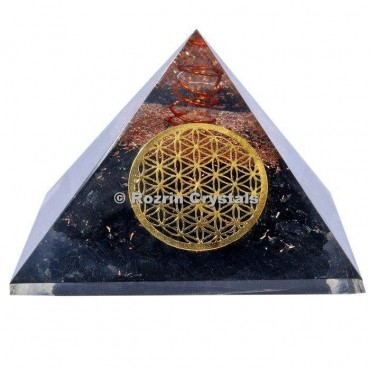 Black Tourmaline with Flower of life Orgone Pyramids
