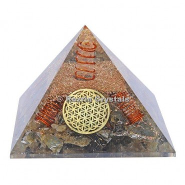 Labrodrite With Flower of life Orgone Pyramids