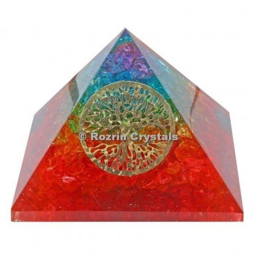 Rainbow Chakra with Tree of life Healing Pyramids