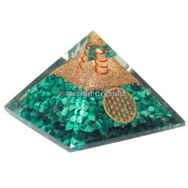 Melachite  With Flower Of Life Orgone Pyramid