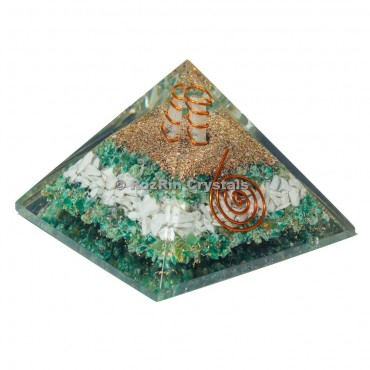 White And Green  With Spiral Orgone Pyramid