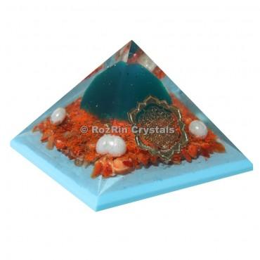 Red Jasper With Pearl Orgonite Healing Pyramid