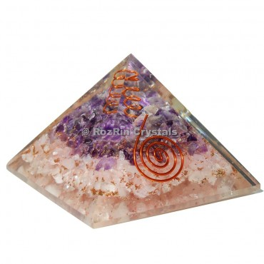 Rose Quartz And Amethyst With Spiral Orgone Pyramid
