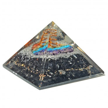 Black Tourmaline With Chakra Heart orgone Pyramid