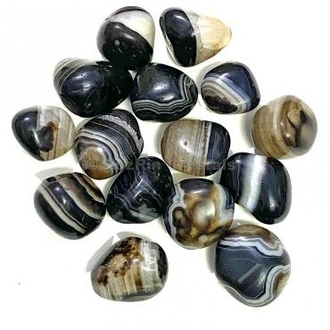 Black Onyx Banded  Tumbled Stone