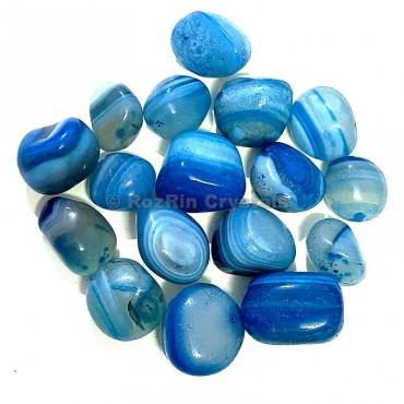 Blue Onyx Banded Tumbled Stone