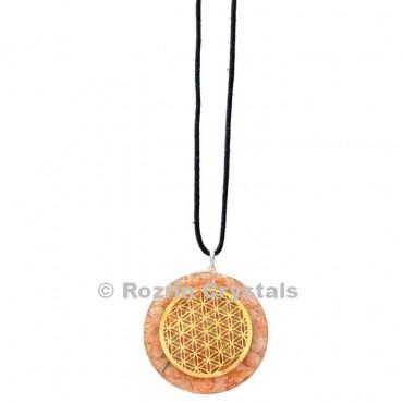 Sunstone Flower Of Life Orgonite Pendant