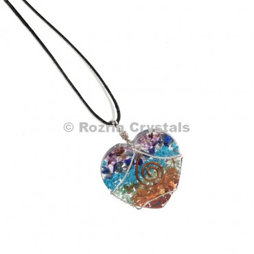 Chakra Heart Wired Wrapped Pendant