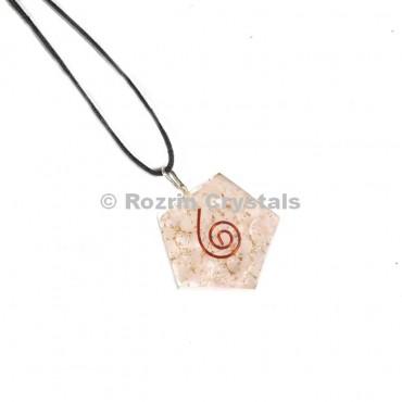 Rose Quartz Pantagon Orgonite Pendant