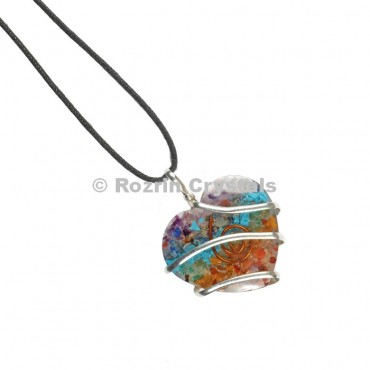 Orgonite Chakra Heart Wired Wraaped Pendant