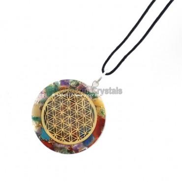 Orgone Chakra Disc Flower Of Life Pendant