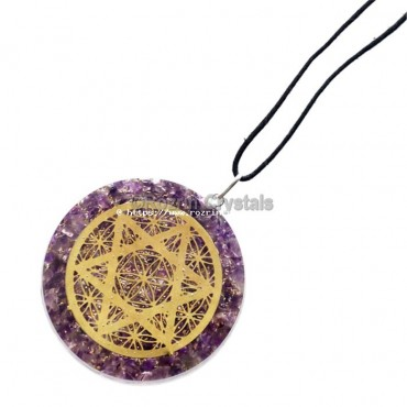 Amethyst Flower of Life With Star Orgonite Pendant