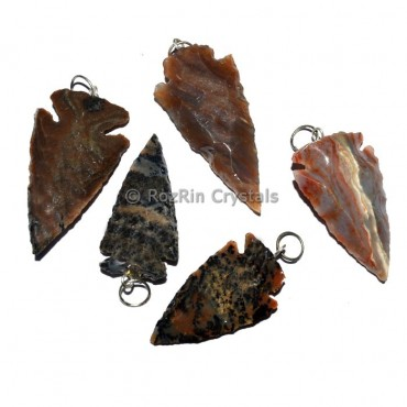 Fancy Jasper Arrowheads Pendants