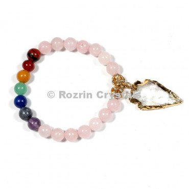 Rose Quartz 8 mm Chakra Bracelets With Electroplated Arrow