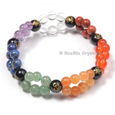 Chakra 8 mm Bracelets Yoga Meditation Bracelets With Om Engraved