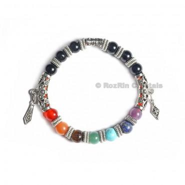 Black Obsidian With Chakra Designer Bracelets