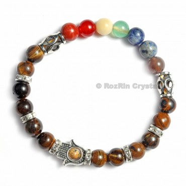 Chakra Hamsha  Bracelets With Tiger Eye