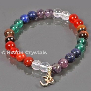 High Quality stone Seven Chakra 8 mm Bracelets with Om charm