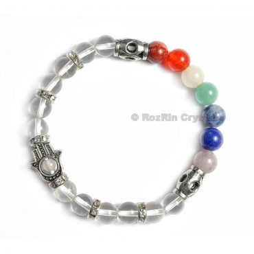 Chakra Hamsha  Bracelets With Crystal Quartz